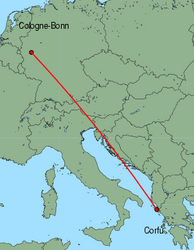 Map of route from Cologne-Bonn to Corfu