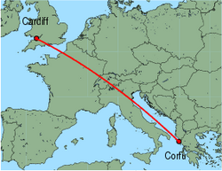 Map of route from Cardiff to Corfu