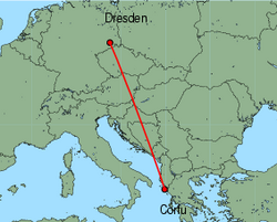 Map of route from Dresden to Corfu