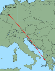 Map of route from Dusseldorf to Corfu