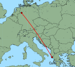 Map of route from Muenster to Corfu
