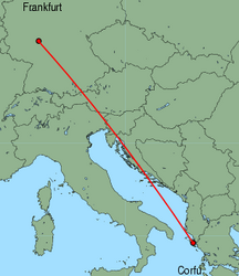 Map of route from Frankfurt (International) to Corfu