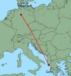 Map of route from Hanover to Corfu