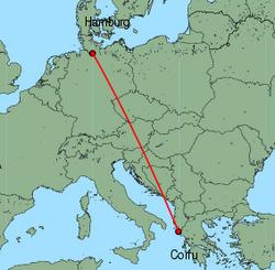 Map of route from Hamburg(Fuhlsbuettel) to Corfu