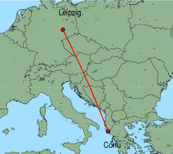 Map of route from Leipzig to Corfu