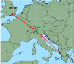 Map of route from London(Gatwick) to Corfu