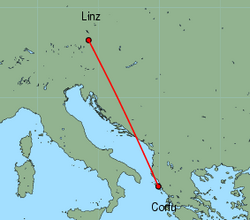 Map of route from Linz to Corfu