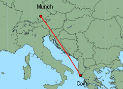 Map of route from Munich to Corfu