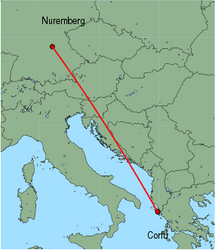 Map of route from Nuremberg to Corfu
