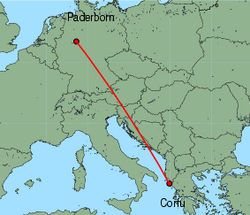 Map of route from Paderborn to Corfu