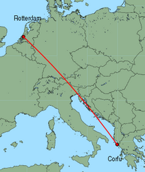 Map of route from Corfu to Rotterdam