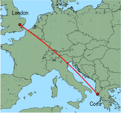 Map of route from London (Stansted) to Corfu