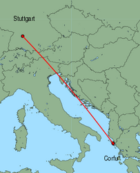 Map of route from Stuttgart to Corfu