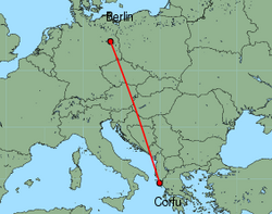 Map of route from Berlin (Schoenefeld) to Corfu