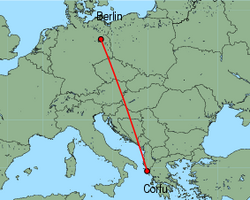 Map of route from Berlin (Tegel) to Corfu