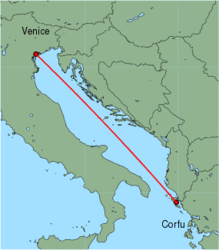 Map of route from Corfu to Venice (Marco Polo)