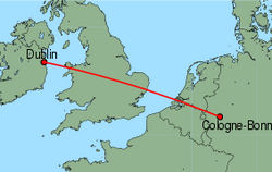 Map of route from Dublin to Cologne-Bonn