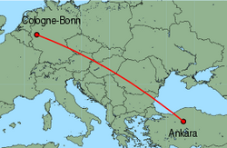 Map of route from Cologne-Bonn to Ankara (Esenboga)