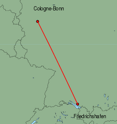 Map of route from Cologne-Bonn to Friedrichshafen