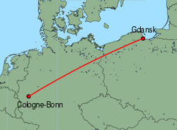 Map of route from Gdansk to Cologne-Bonn