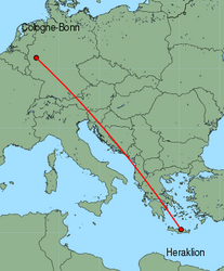 Map of route from Cologne-Bonn to Heraklion