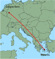 Map of route from Cologne-Bonn to Mykonos