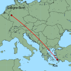 Map of route from Cologne-Bonn to Kos