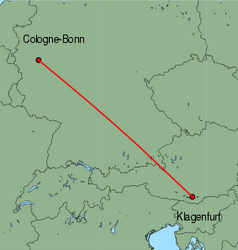 Map of route from Klagenfurt to Cologne-Bonn