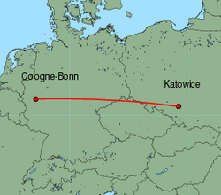 Map of route from Katowice to Cologne-Bonn