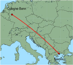 Map of route from Cologne-Bonn to Kavala