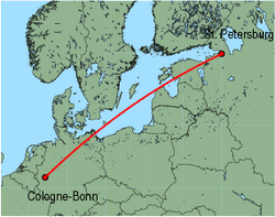 Map of route from St.Petersburg to Cologne-Bonn