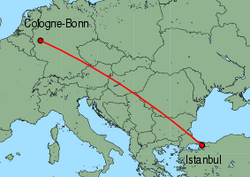 Map of route from Cologne-Bonn to Istanbul(Sabiha)