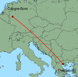 Map of route from Cologne-Bonn to Thessaloniki