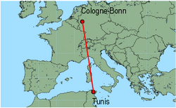 Map of route from Cologne-Bonn to Tunis