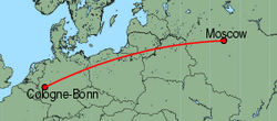 Map of route from Moscow (Vnukovo) to Cologne-Bonn