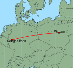 Map of route from Warsaw to Cologne-Bonn