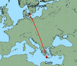 Map of route from Copenhagen to Chania