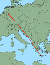 Map of route from Dusseldorf to Chania