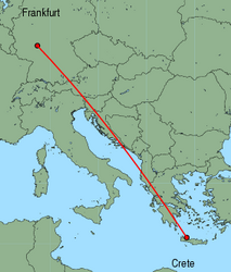Map of route from Frankfurt(International) to Chania