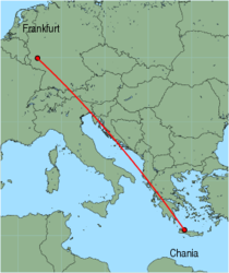 Map of route from Frankfurt (Hahn) to Chania