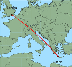 Map of route from London (Gatwick) to Chania
