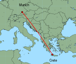 Map of route from Munich to Chania
