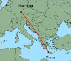Map of route from Nuremberg to Chania