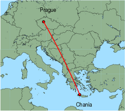 Map of route from Prague to Chania