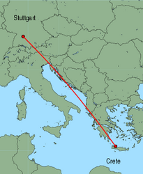 Map of route from Stuttgart to Chania