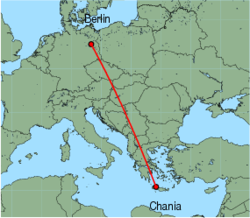 Map of route from Berlin(Tegel) to Chania