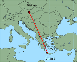 Map of route from Vienna to Chania