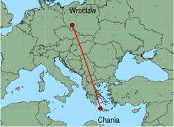 Map of route from Wroclaw to Chania