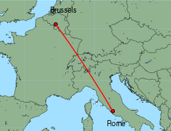 Map of route from Rome (Ciampino) to Brussels (Charleroi)