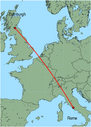 Map of route from Edinburgh to Rome(Ciampino)